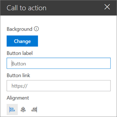 The toolbox for the Call to Action webpart for SharePoint sites, showing how to customize the link, button, and alignment of the webpart