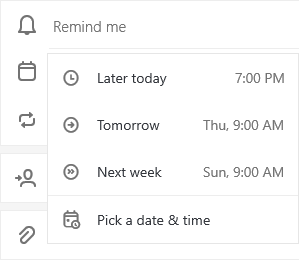 A tasks's detail view is open with Remind me selected with the options to select Later today, Tomorrow, Next week or Pick a date & time