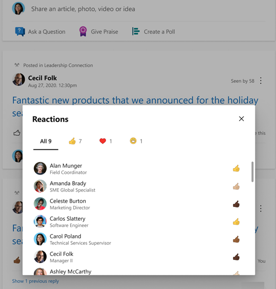 Screenshot showing a summary of reactions with diverse skin tones in Yammer