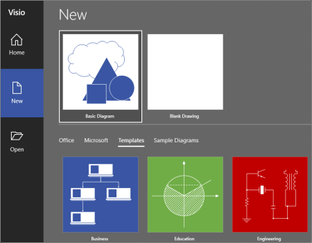 Visio diagram templates menu on the New tab.