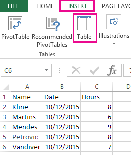 The Table option is on the Insert tab.