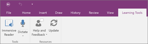 Ribbon for Learning Tools Add-in for OneNote.