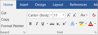 Screenshot of the Font styling options on the Home tab