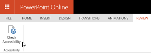 Make your powerpoint presentations accessible office support screenshot shows the review tab with the cursor pointing to the check accessibility option ccuart Choice Image