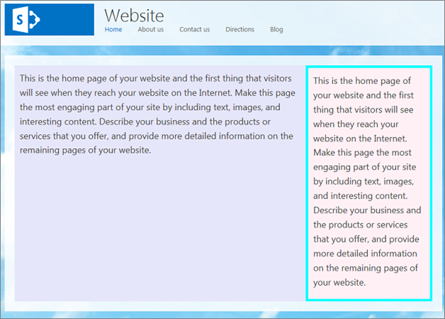 Example of several changes to the Right Left Sidebar Layout