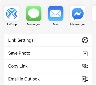 Share menu with apps along the top and a list of share options below those.