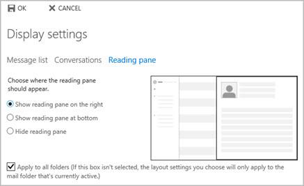 Reading pane settings