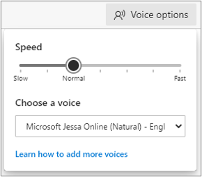Voice options menu in Read Aloud to select playback speed and type of voice