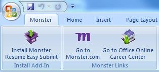 monster resume easy submit add-in