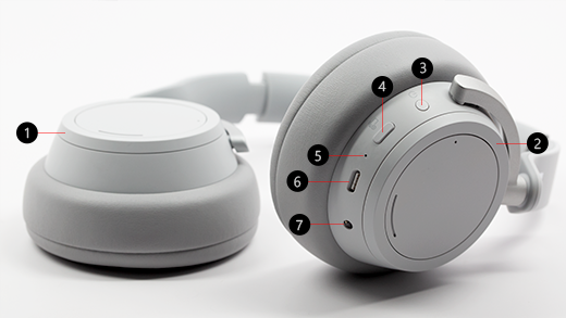 Image explaining the different buttons on the Surface Headphones.