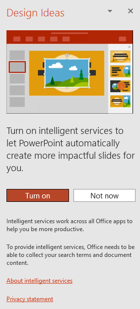 shows the inital message that appears when the powerpoint designer is invoked - Powerpoint Design Ideas