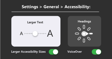 General accessibility: larger text and VoiceOver settings