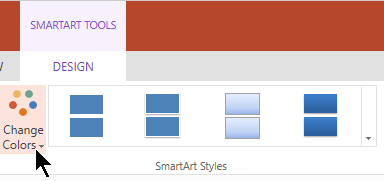 Under SmartArt Tools, select Change Colors to open the color gallery