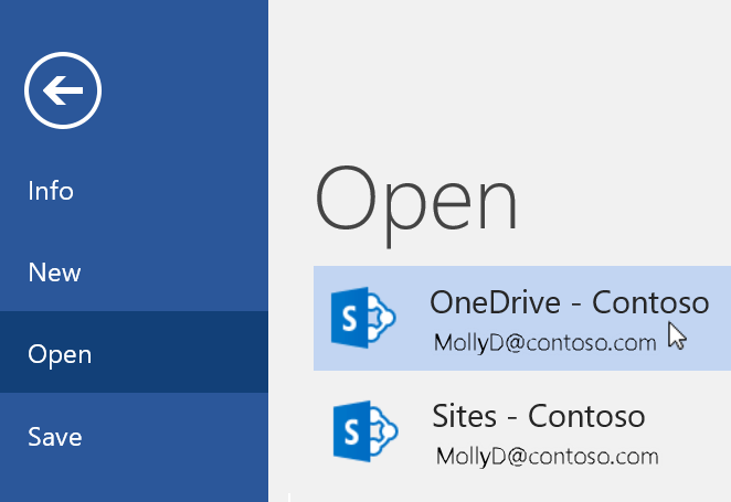 Screenshot of File > Open menu in Word.