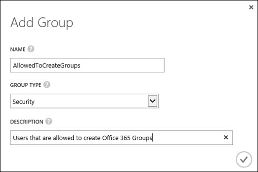 Adding a group in the Azure AD admin console