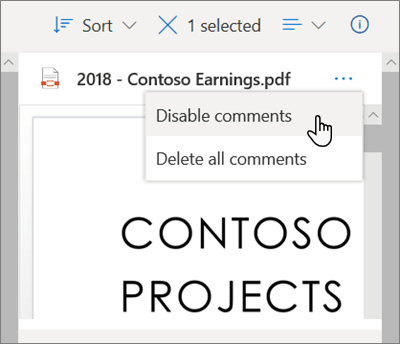 The OneDrive Details pane, with the 'Disable comments' option selected in the dropdown menu