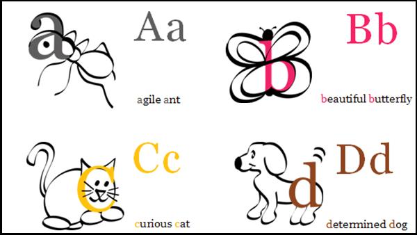 illustration of alphabet cards