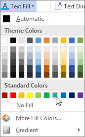 Choosing a text fill color