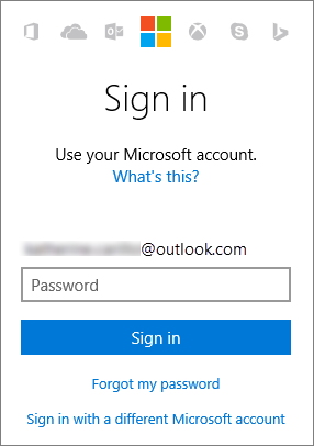 Screenshot showing the Microsoft account sign in screen