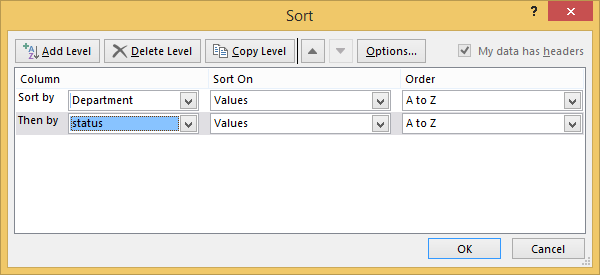 Sort data in a table - Excel