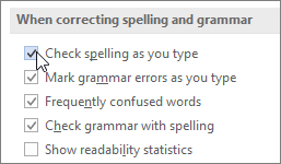 The Check Spelling As You Type check box