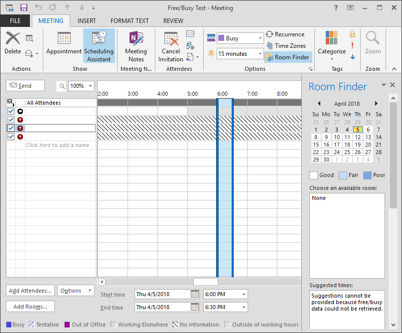 Free/Busy shows slashed lines in Scheduling Assistant - Outlook