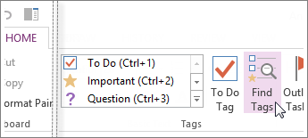 You can find tags using the Tags Summary pane in OneNote.