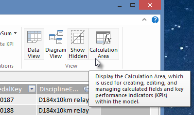 the Calculation Area botton in Power Pivot