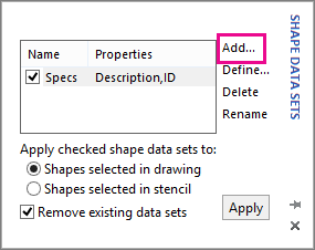 Add data sets to shapes - Visio