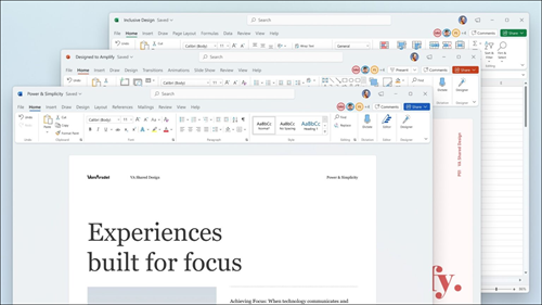 Word, Excel, and PowerPoint displayed with visual updates in ribbon and rounded corners to match Windows 11 user interface.