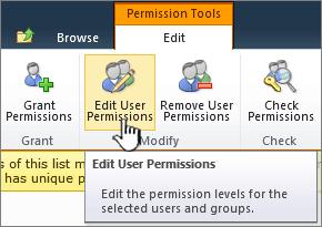 Edit user permissions