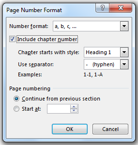image of Format Page Number dialog box