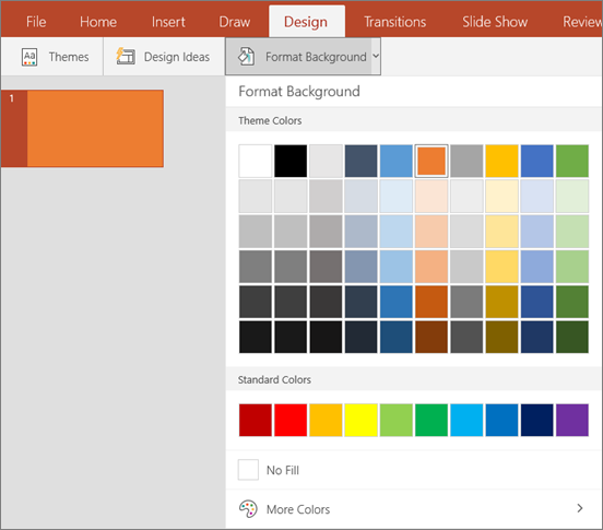 Shows Format Background options on the Design tab in PowerPoint.