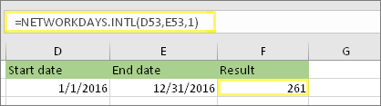 =NETWORKDAYS.INTL(D53,E53,1) and result: 261