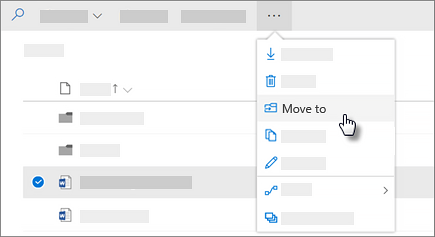 Screenshot of the Move to command in OneDrive for Business