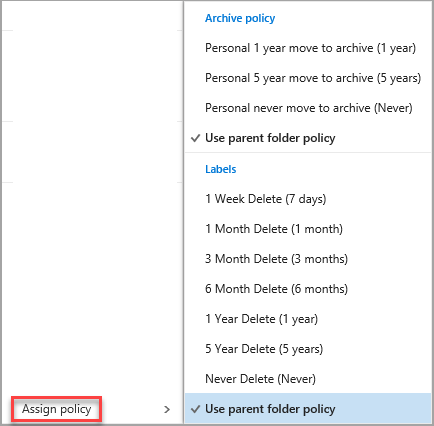Assign retention labels and archive policies in Outlook on the web