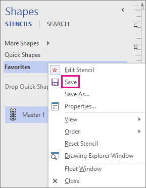 Right-click the name of the stencil to save the addition of a new master shape.