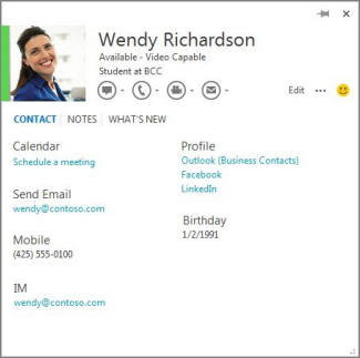 Example of a contact card you can open by clicking the photo of a commenter in Word.