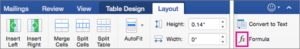 When the window is wide, Formula appears on the Layout tab itself, rather than on the Data menu.