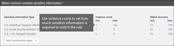Instance counts in the rule editor