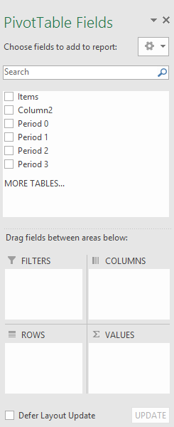 PivotTable Fields pane
