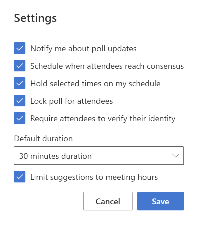 Example of the Organizer Settings for FindTime