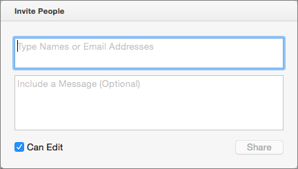 Enter names from your Contacts, or e-mail addresses, to send invitations to the recipients.