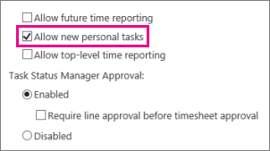 Allow new personal tasks