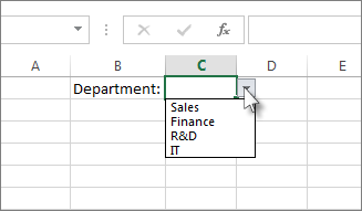 A drop-down list in Excel