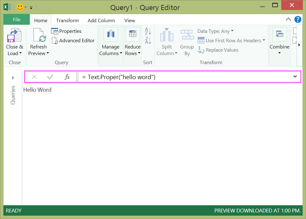 create power query formulas in excel
