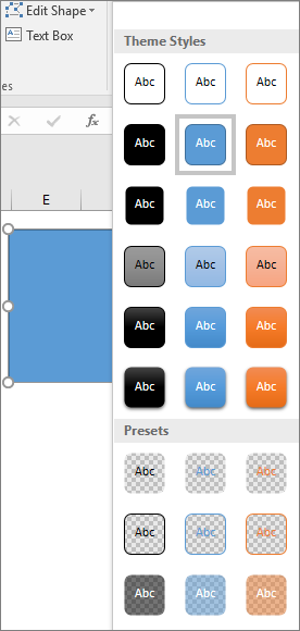 Shape style gallery showing the new preset styles in Excel 2016 for Windows