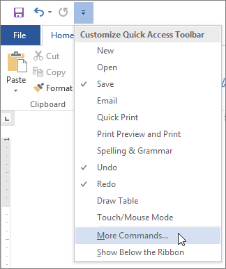 Selecting More Commands for the Quick Access Toolbar