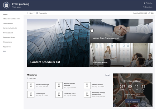 Screenshot of the page preview of the event planning SharePoint site template