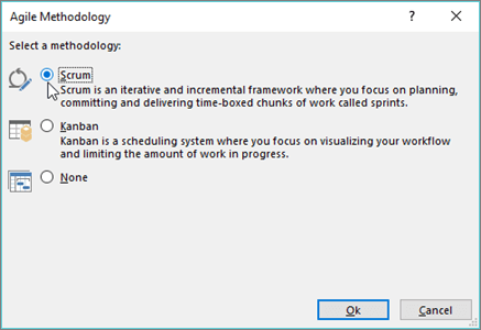 Screenshot of the Agile Methodology dialog box